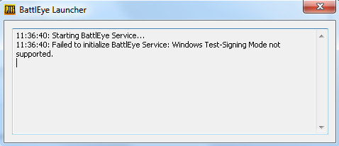 Failed to initialize BattlEye Service: Windows Test-Signing Mode not supported.